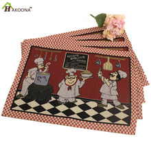 HAKOONA 4 pieces Placemats for Dinning  Table  Vintage Chef Jacquard 33*48cm Pads American  Coaster Plate Pad Insulation Pads