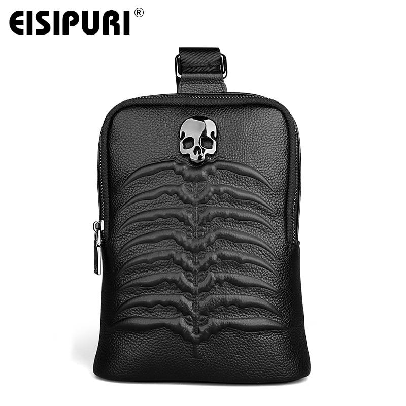 EISIPURI Hot Sale Black Men Shoulder Bags Luxury Designer Genuine Leather Handbags High Quality Durable Crossbody Bag Chest Bags<br>