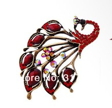Vintage Style Antique Gold Plated Red Turquoise Rhinestone Crystal Peacock pin Brooch
