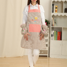 Geranjie Cute Cat plaid fashion princess work wear nail art stripe long-sleeve set aprons overalls