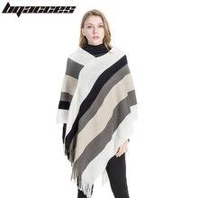 BQACCES  Coloré Stripe Knit Cachemire Poncho Foulards Femmes Hiver Chaud  Épais Pashmina Châle Couverture Écharpe Cape Femme Buf. af893e3837f