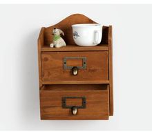1PC Zakka 2 layrer grocery wood drawer cabinets retro storage box wooden wall cabinet finishing 18.5x10.5x25.2cm J0946