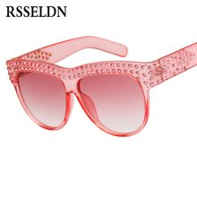 RSSELDN Fashion Rhinestone Sunglasses Women Gradient Lens Oversized Square Sun Glasses For Women Brand Luxury Black Pink Shades(China)