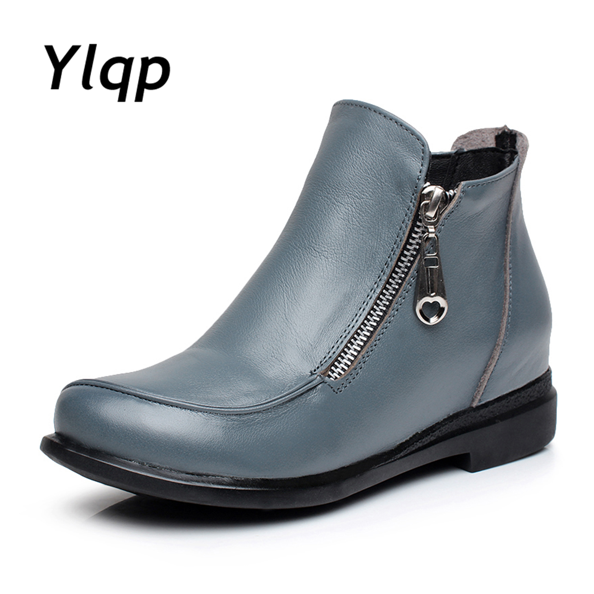 Autumn Winter Genuine Leather Women Boots Fashion Flat Heels Shoes Round Toe Ladies Boots Female Casual Zipper Ankle Boots botas<br>