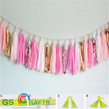 27colors  light pink pink and golden  Tissue Paper Tassels Party wedding Christmas decoration Garland Buntings Pompom Tassle