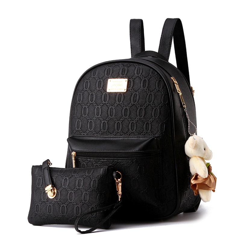 3Pcs/Set Small Women Backpacks female 2017 School Bags For Teenage Girls Black PU Leather Women Backpack Shoulder Bag Purse<br>