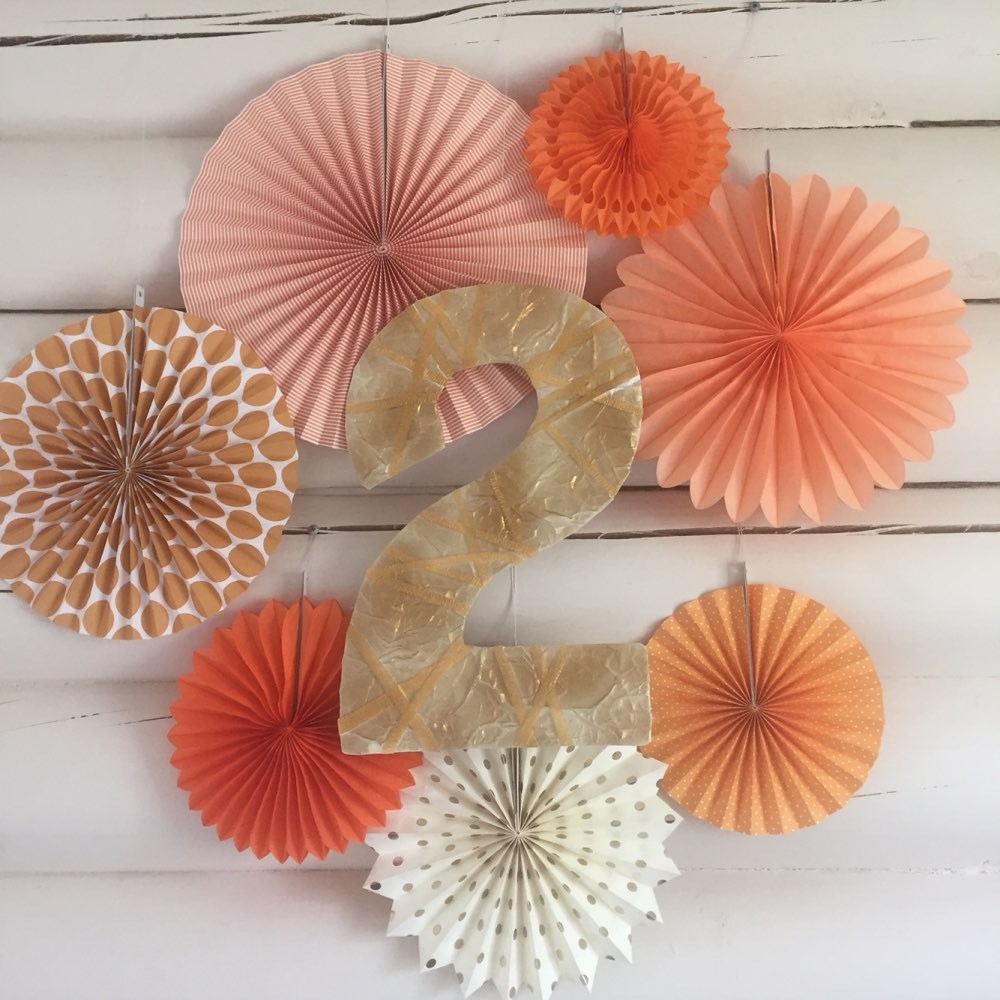 New Orange Set Paper Crafts Home Hanging Decoration Party Birthday Wedding Baby Shower Sunshine Bright Color Paper Fan 10