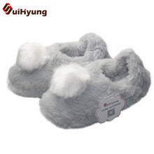 Buy SuiHyung Winter Thick Warm Home Cotton Shoes Soft Big Hairball Warm Indoor Shoes Non-slip Rubber Bottom Bedroom Floor Slipper for $14.23 in AliExpress store