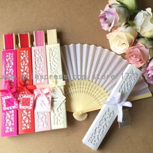 Free shipping 50Sets/Lot Elegant Silk folding Fan with Luxury Laser-Cut Gift Box + Thank you Card + Ribbon for wedding favor