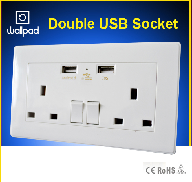 Wallpad 110-250V 5V 2.1A  Double USB UK Socket, 146*86mm USB Charger UK Standard Switch and Socket, Free Shipping<br><br>Aliexpress