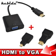 kebidu HDMI to VGA Adaptor Micro HDMI Mini HDMI Male Adapter to VGA Female Built-in 1080p Chipset Converter For Xbox 360 PS3 PS4