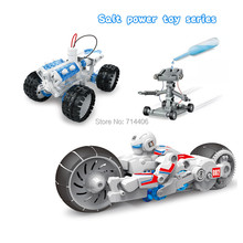 Salt water power toy series 3styles,fueled DIY space vehicle green technology science robot model toys,Brine power motorcycle