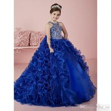Royal Blue Girl Pageant Dresses Ball Gowns Ruffles Beads Crystals Flower Girls Dresses Children Kids Christmas Party Dress FH22