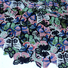 Fashion show super heavy rayon winter dress lace fabric embroidery fabric Butterfly flowers 1 yard
