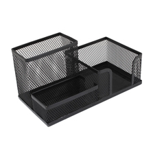 SOSW-Students Office Desk 3 Compartments Metal Pen Holder Black(China)