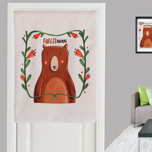 Cartoon Door Valance for Home Decor Linen Cotton Cute Bear Printed Thick Fabric Short Curtains for Living Room Kitchen Bathroom