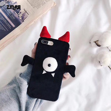 ZMASI Mono-Eye Devil Design Soft Cell Case for iPhone 6s 6 plus Felt TPU Phone Bag for iPhone 7 8 plus Back Funda Cover(China)