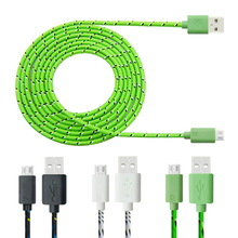 1m 2m 3m Hot Sell Nylon Braided Fabric Micro USB Cable Charger Data Sync Cord for Samsung Galaxy Android Smart Phone