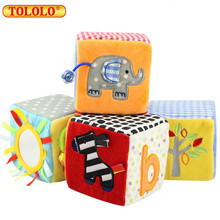 TOLOLO New Baby Cloth Block Toy 8.5 Cm Soft Cloth Plush Building Block Early Educational Toy Colorful Baby Rattles Toy Set