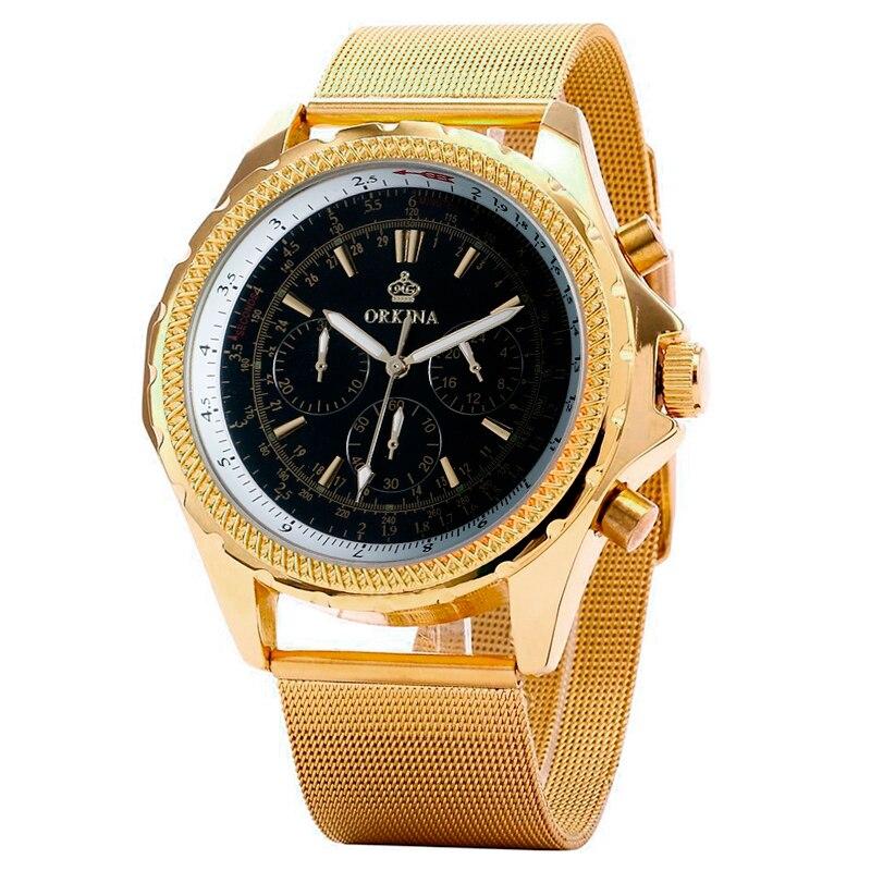 Luxury Top Brand Famous MG. ORKINA Gold Watch Men Watches 2017 Fashion Wristwatch Clock Quartz Wrist Watch Relogio Masculino<br>