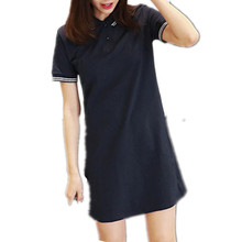New Arrial 2017 New Summer POLO Brief Button Turn-Down Collar Cotton Navy blue T-Shirt Womens Dresses Hot Sale D77595A