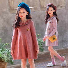Turn-down Collar Kids Girls Fall Knitwear Dress Flower Toddler Girls Sweater Knit Dresses Winter Autumn 2018 New Arrival