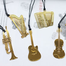 Cute Kawaii Golden Metal Music Bookmarks Piano Guitar Trumpet Designs Books Marks Korean Stationery School Gifts Decor Book Mark(China)