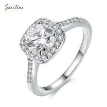 Engagement Ring Top Quality Rings for women White crystal ring Silver Overlay jewelry size 5 6 7 8 9 R2046