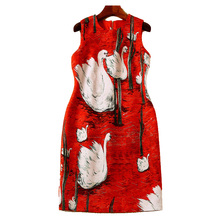 Spring Summer Dress 2017 High Quality Women Runway O-neck Sleeveless Swan Printed Back Crystal Button Mini Dress Vestidos SAD922