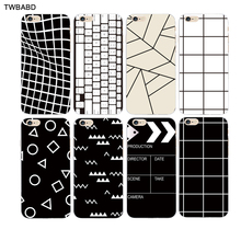 Simple Black White Grid Cover phone cases For iPhone 5S SE 6 6S 7 Plus 5C 5 shell Triangular and square patterns back cover(China)
