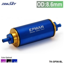 TANSKY - Racing Ready Inline Fuel Filter OD:8.6MM Blue with 100 Micron Element TK-OF86-BL
