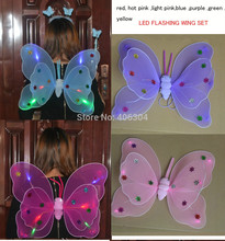 FREE SHIPPING,LED flashing Two layers fairy wings set(wing,headband,wand)/butterfly wing with light