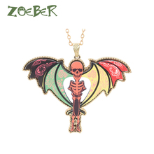 ZOEBER Natural Skeleton chain choker charm Features Skull necklace Acrylic Unisex fashion jewelry Neck accessories chokers colar(China)