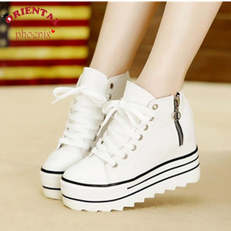 2016 Fashion High Heeled Platform Shoers Canvas Shoes Elevators White Black High Top Casual Shoes with zip<br><br>Aliexpress