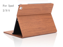 Ultra Thin Foldable Luxury Wood Grain Flip Stand Leather Original Case Smart Cover for apple ipad/2/3/4(China)