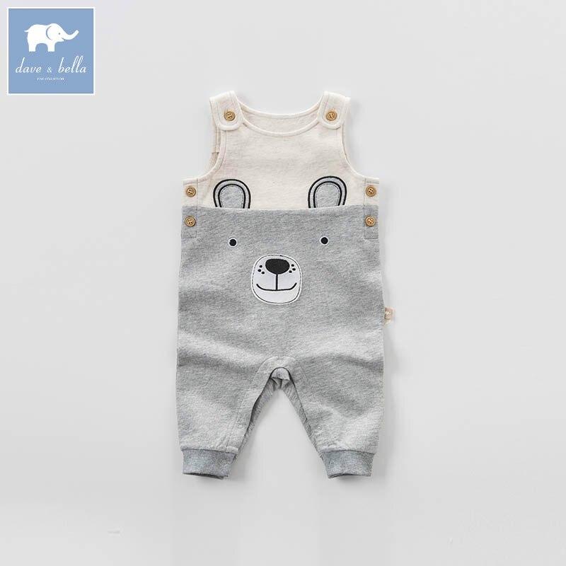 DBA6442 dave bella spring baby boys fashion gray bear overalls children toddler clothes baby cute overalls<br>
