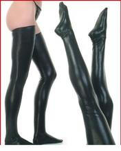 Black Latex Stockings Faux Leather Wet Look Vinyl Fetish Stocking LC7796 + Cheaper price + Drop Shipping Cost + Fast Delivery