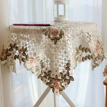 European country luxury embroidered fabric lace wedding home round 60x60 tablecloth sidetable cover with lotus
