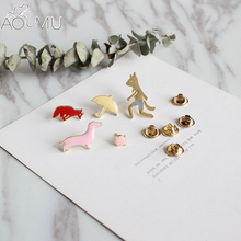AOMU 5pcs/set Fox Umbrella Brooch Button Pin Denim Jacket Pin Badge Cartoon Fashion Jewelry Gift