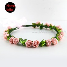 Girl Lady Decorative Flower Wreaths 18 Roses Garland Crown Hair Hoop With Ribbon For Wedding Party Festival 1 Piece PT008