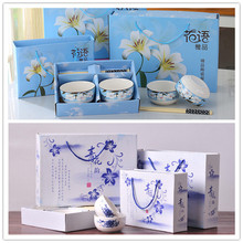 Cartoon Chinese home Children's Dinnerware ceramics Bowl Kit set Gift Kitchen Cooking Tools Metal Household Tableware Bar