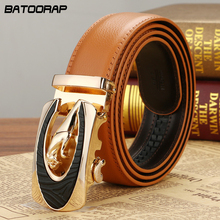[BATOORAP] New Automatic buckle Men Belts Luxury High quality Real Leather Belt Orange Casual Brand Designer Belts Men