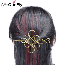 AE-CANFLY Fashion Chinese knot Hair Stick Gold Silver Color Hollow Hear Hairpins Clips Women Hair Accessories  HG431