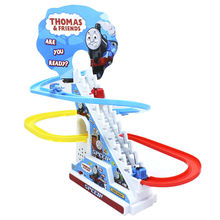 Thomas And Friends Trackmaster Climbing stairs set ,Tomas train LED light music Electric Rail Road kits boy assembly toys car(China)