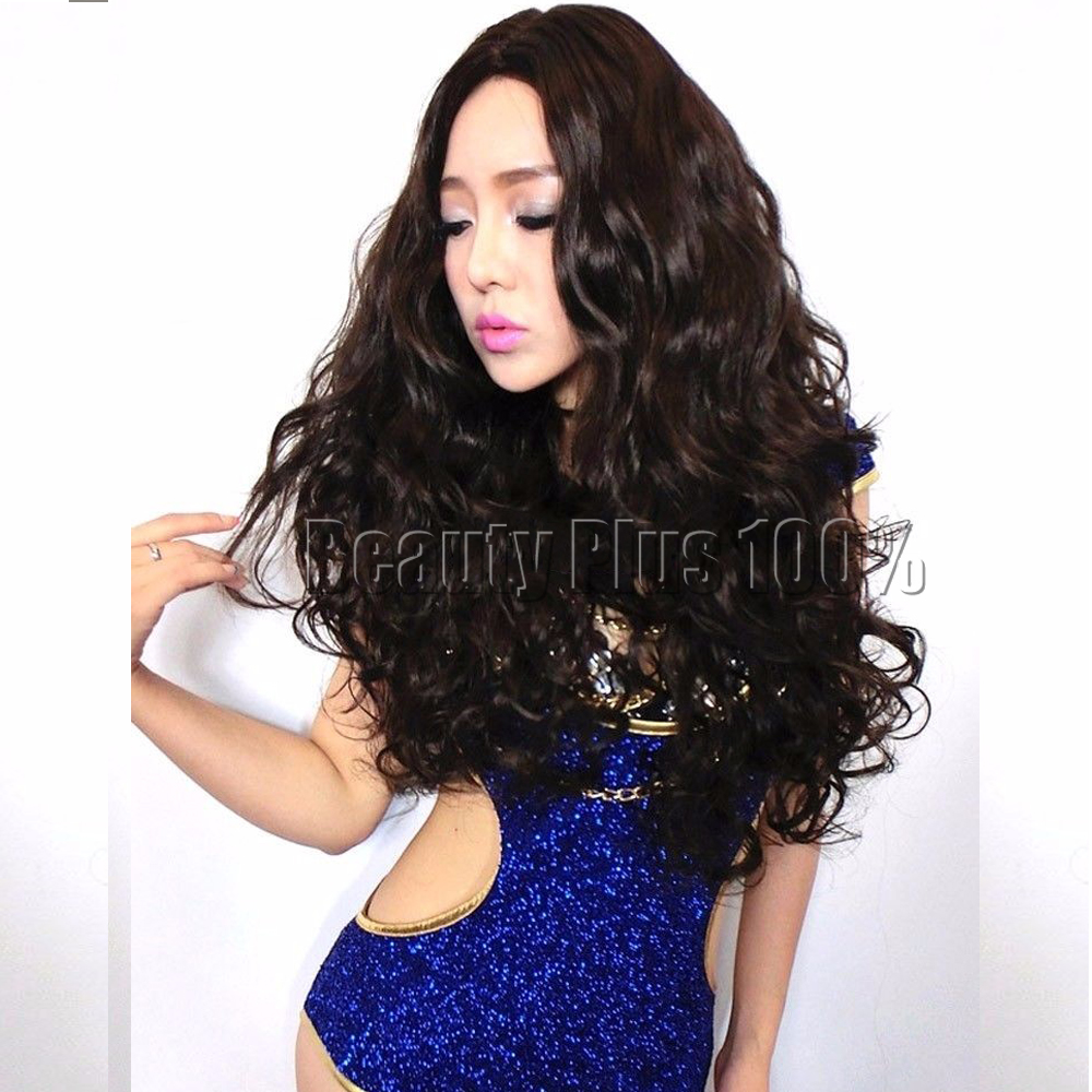 Fashion wig New sexy Womens long Dark Brown Curly Natural Hair wigs cosplay free shipping <br><br>Aliexpress