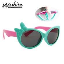 Ojo de Gato niños gafas de sol polarizadas niños 2018 arco gafas de sol  para la muchacha Rosa Flexible marca diseñador gafas UV4. eb592da23e