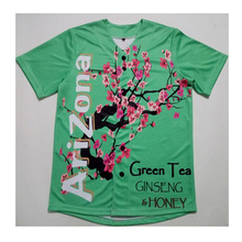 Real American Size arizona green tea 3D Sublimation Print Custom made Button up baseball jersey plus size