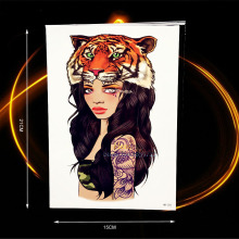 1PC Women With Tiger Head Fake Flash Water Transfer Health Tattoo Sexy Girl Body Art Armband Tattoo Shoulder HHB-205 Large Size