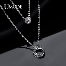 UMODE 2016 New Link Chain Slide Pendant White Gold Color Two Layered Pendant Crystal Necklace Jewelry for Women UN0119B