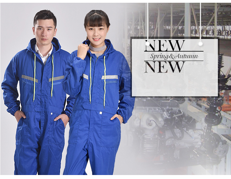 Men Women Coveralls Long Sleeve Hooded Reflective strip Overalls Auto Repair Engineering Spray Paint Workwear Working Uniforms (3)